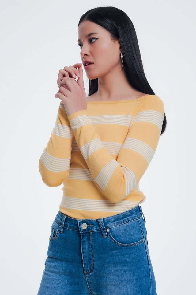 yellow striped sweater with boat neck