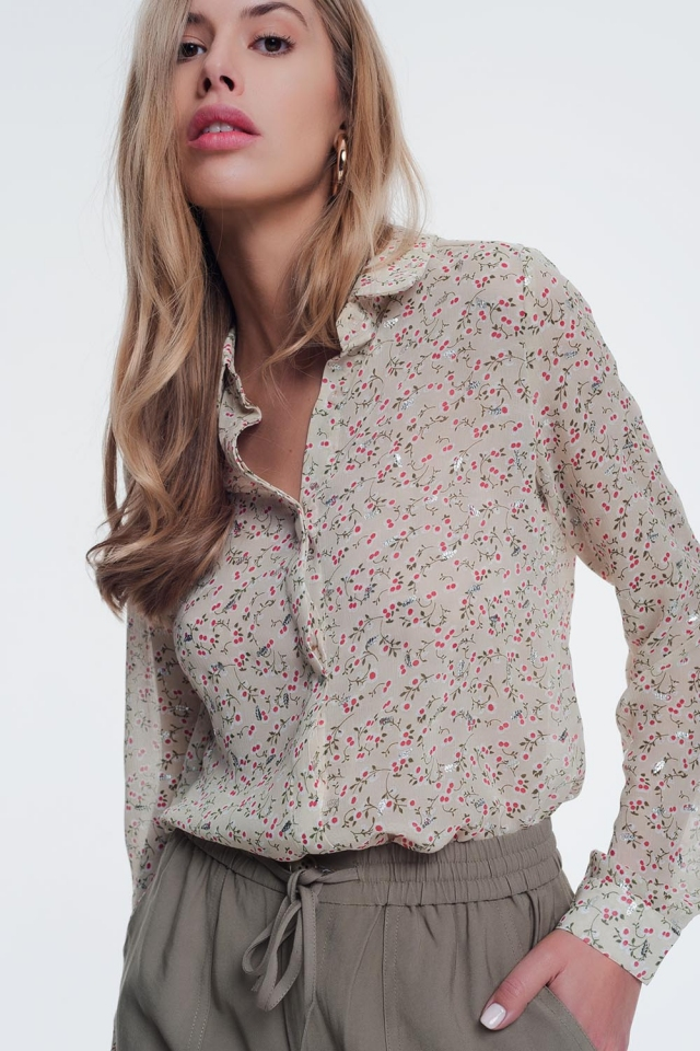 blouse in beige with floral print