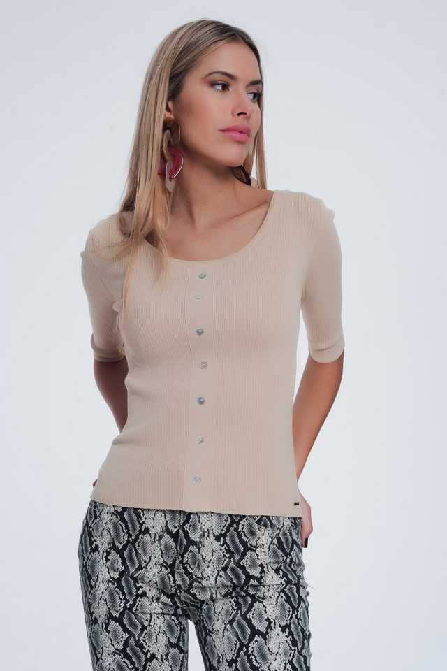 scoop neck sweater with buttons in beige