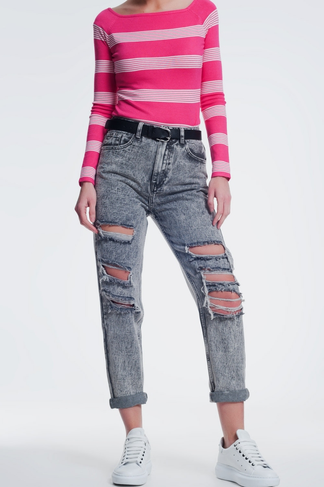 ripped straight jeans in gray