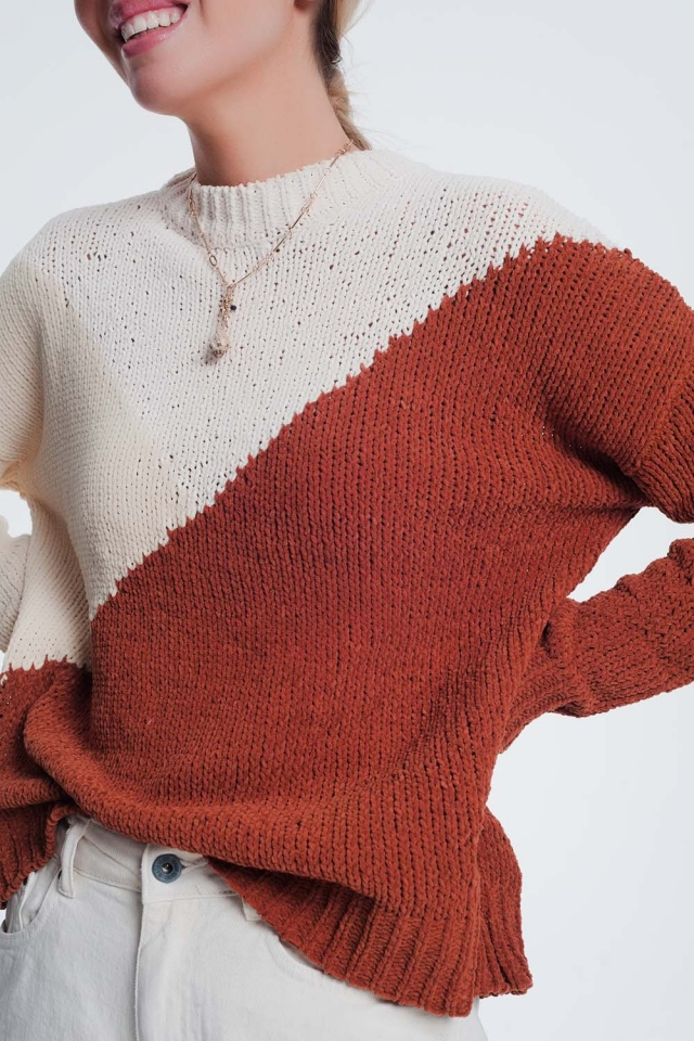 brown colourblock jumper