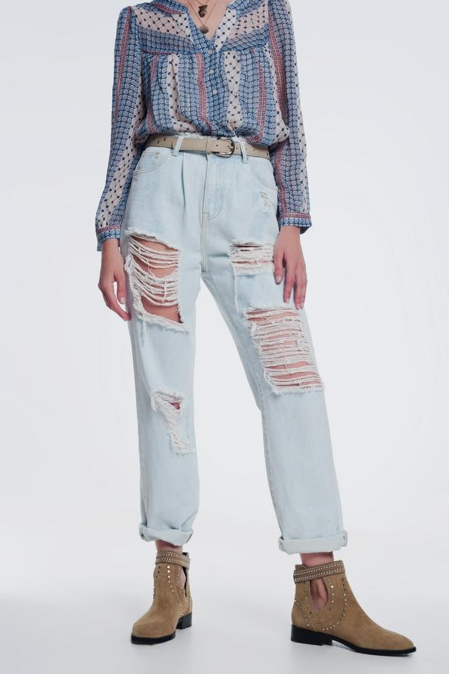 super ripped boyfriend jeans in light blue