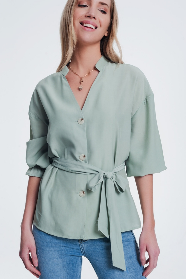 Khaki button front tea blouse with puff sleeve