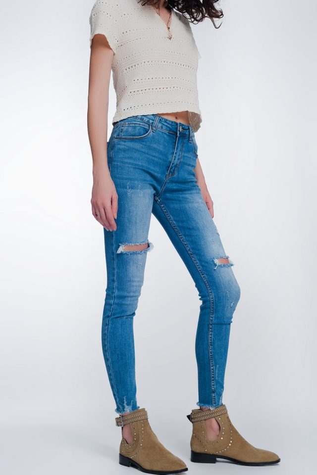 Mid denim super skinny jeans with holes in the knees
