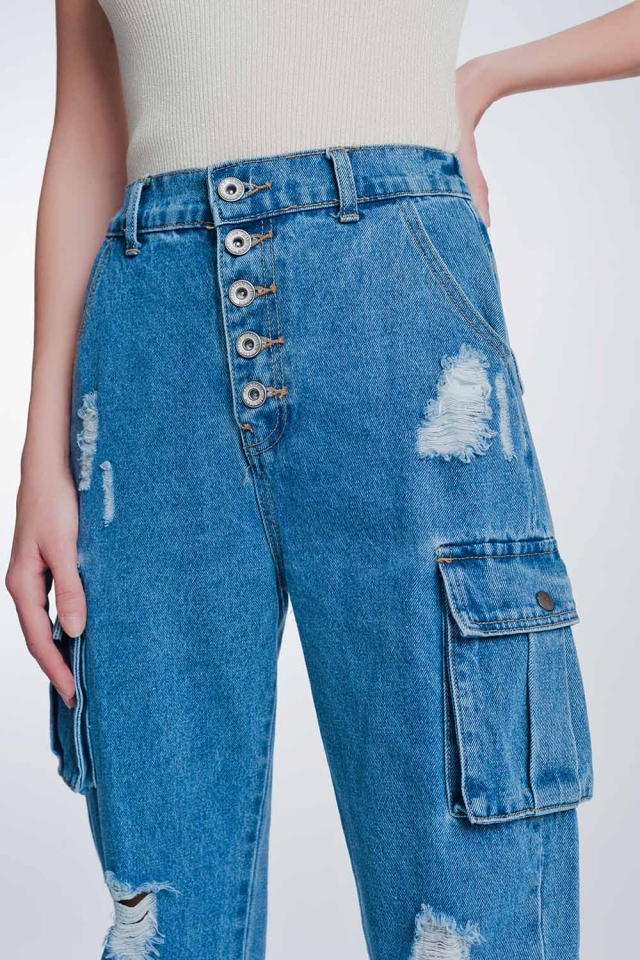 Light denim straight jeans ripped with side pockets