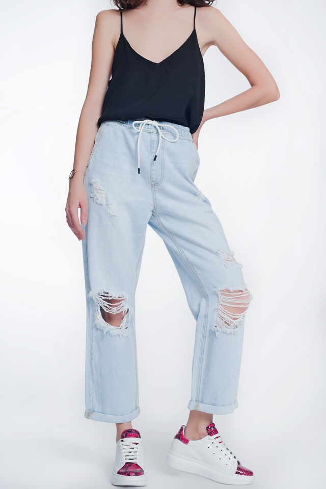 high rise straight crop jeans in lightwash blue