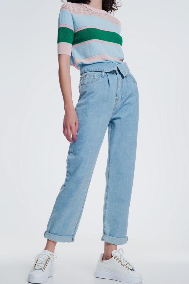 Light denim straight jeans with folded waist