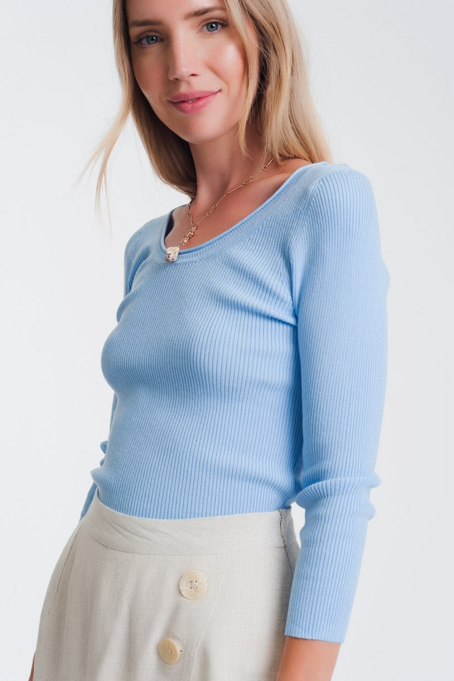 Blue knitted wide neck sweater